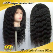 Indian Remy Hair Natural Color Deep Wave Silk Base Full Lace Wig